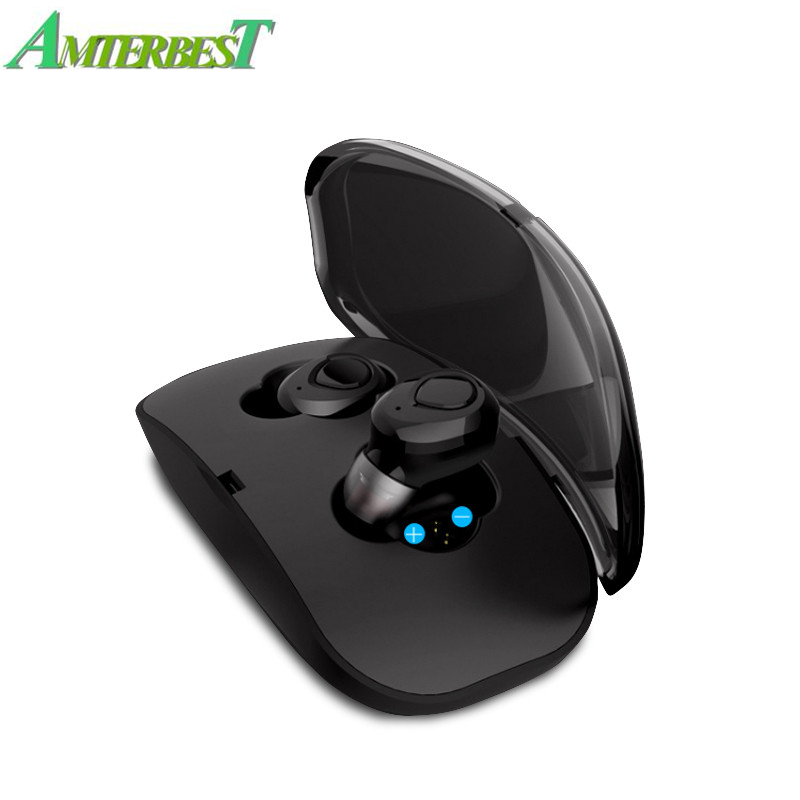 AMTERBEST TWS Auricolare Senza Fili 3D Stereo Bluetooth Auricolare a Mani Libere di trasporto Intelligente di Riduzione Del Rumore Auricolare Bluetooth con la Scatola del Caricatore
