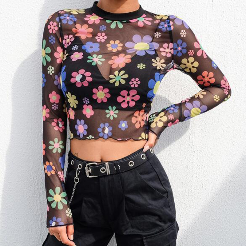 Blouses & Shirts Hirigin New Women Cartoon Moon Sun Print Blouses 2019 Sheer Mesh Crop Tops Perspective Hollow Out Tee Basic Slim Blouse