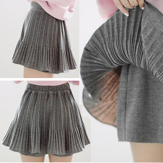 c2b31058c0d Autumn and winter bust skirt pleated skirt short solid pantskirt plus size  high waist short skorts