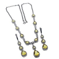 Super Christmas Gift Yellow Jewelry Sets Shiny Lady 925 Sterling Silver Necklace Earrings Womens Jewellry Set