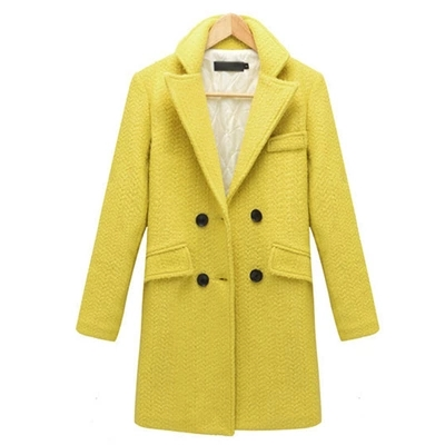 New Autumn Winter Women's Double Breasted Wool Brazer Suits Medium Long Woolen Trench Plus Cotton Thicken Outwear Overcoats