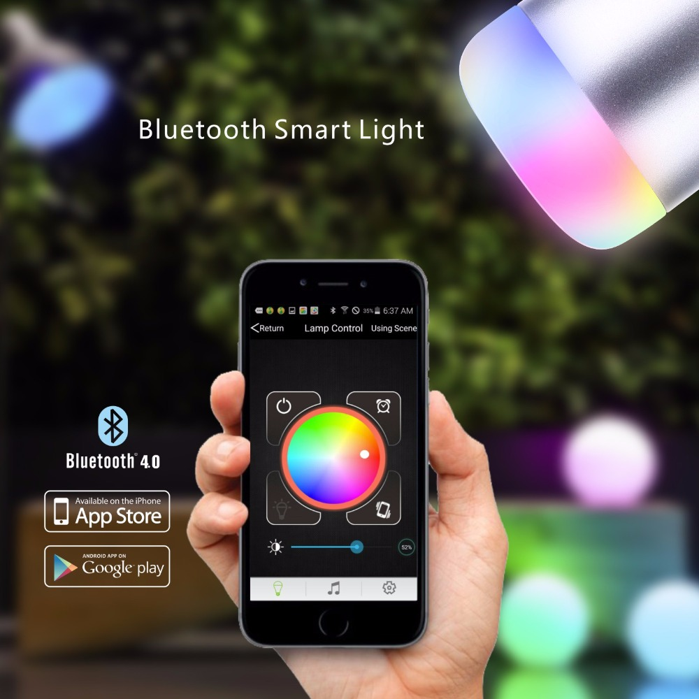 Intelligent 6W RGB LED Bulb Bluetooth Smart Lighting Lamp Colorful Lights Bulb With Remote Control lightme smart e27 6w rgb led bulb bluetooth smart remote control lighting lamp colorful dimmable speaker lights bulb new style