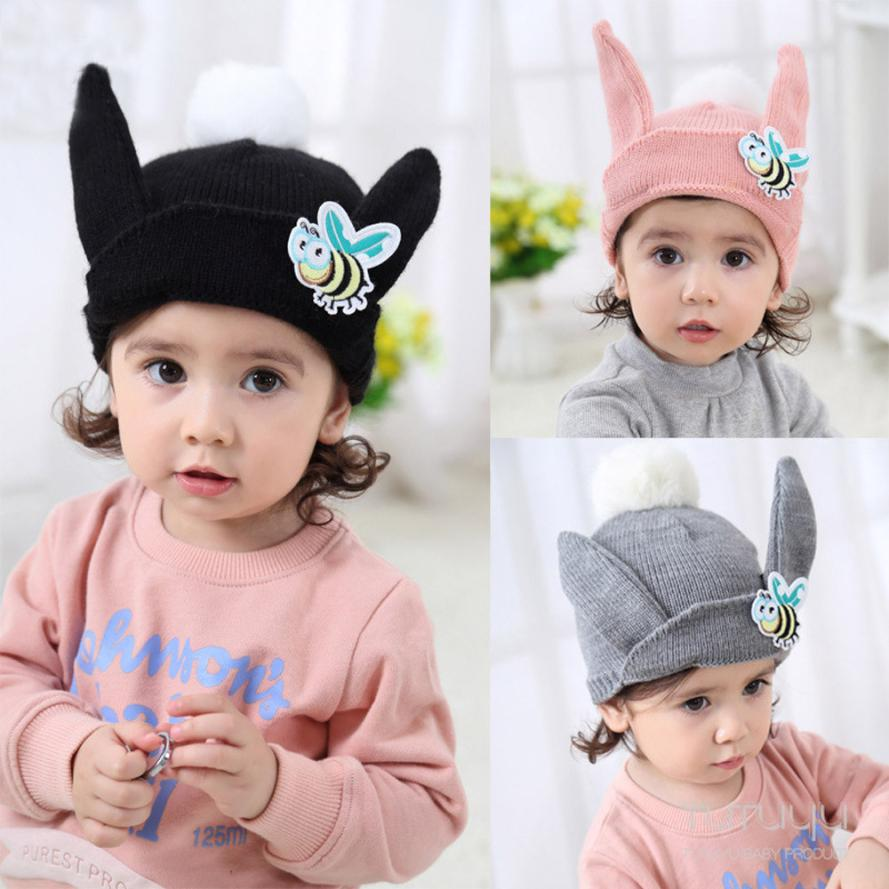 Cute Baby Kids Girl Boy Cartoon Bee Ear Warm Winter Knitted Cap Hat Beanie Baby Hat Baby Cap Baby 2018