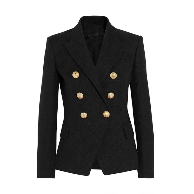 HIGH QUALITY New Fashion 2016 Runway Style Women's Gold Buttons Double Breasted Blazer Outerwear Plus size S-XXL