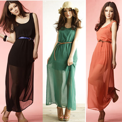 a0ed1eb68 Ultra-low-price sales FREE SHIPPING!! Ladies vacation chiffon long dress 3  Colors girl dresses Women's quality skirt + BELT