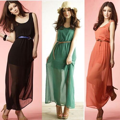 f98258dfaec Ultra-low-price sales FREE SHIPPING!! Ladies vacation chiffon long dress 3  Colors girl dresses Women s quality skirt + BELT