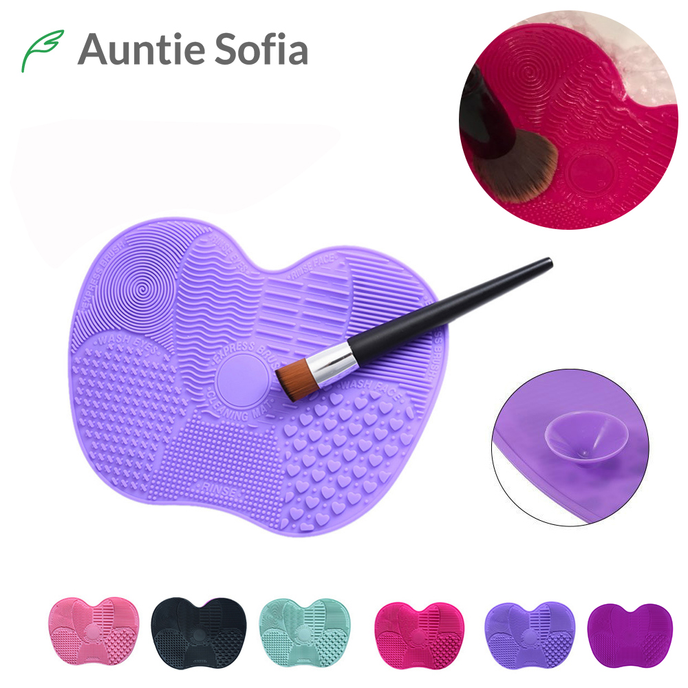 Brush Cleaner 6 Colors Silicone Cleaner Pad Sucker Multi-Pattern Gel Brushes Washing Scrubber Board Makeup Tool Cleaning Mat 1pcs brushegg cleaning makeup washing silicone glove scrubber board 1pcs toothbrush powder brush cosmetic clean tools set