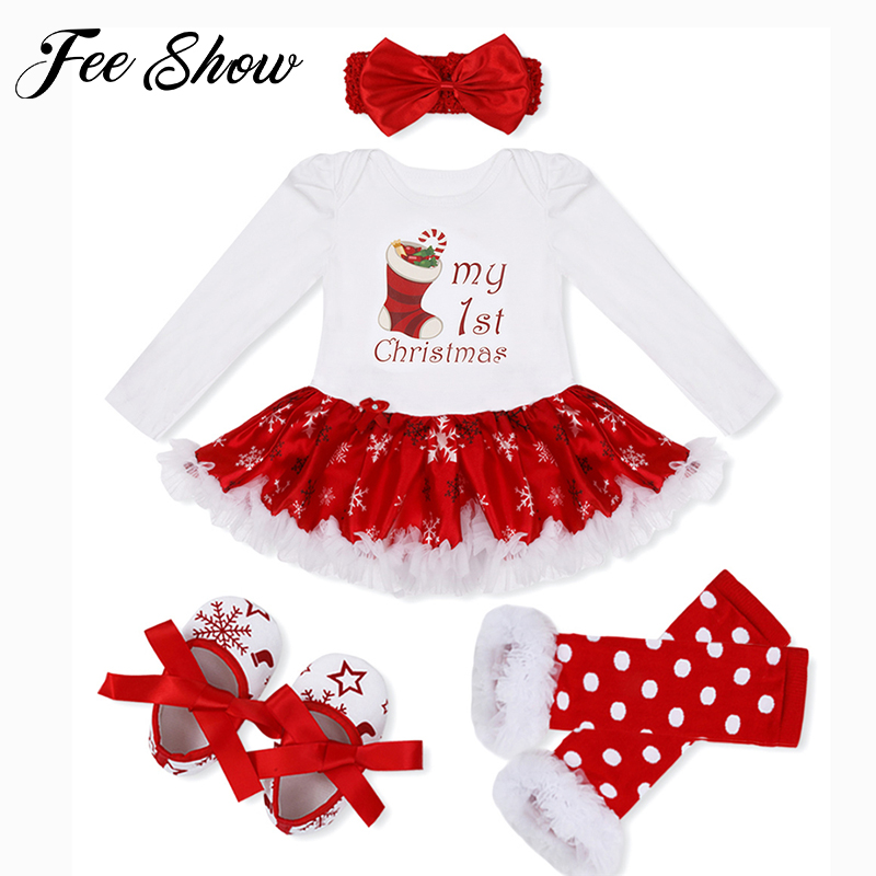 4 Color Infant Baby Girl Winter Long Suit Novelty Costume Baby Christmas Clothing Sets Santa Rompers Birthday Party Cosplay Gift