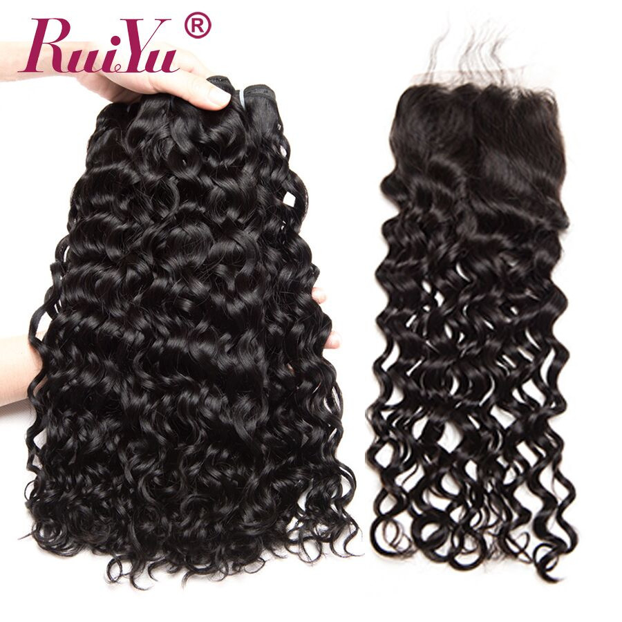 RUIYU Malaysian Water Wave Hair 3 Bundles With Closure 100% Human Hair Bundles With 4x4 Lace Closure Non Remy Hair Extension