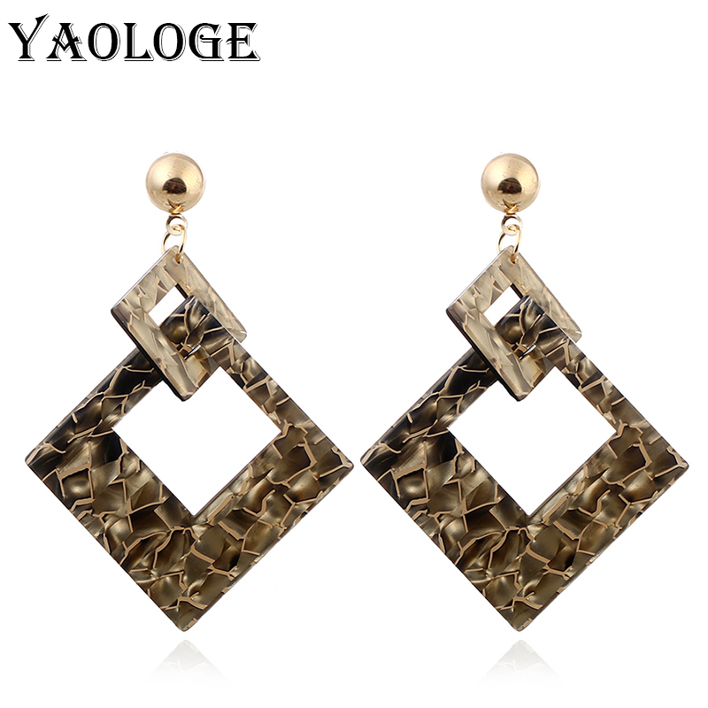 YAOLOGE Colorful Square Acrylic Pattern Horse Exaggerated Hollow Fashion Bohemian Style For Women Vintage Statement New