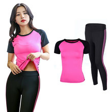 OLOEY Woman 2 Pieces Yoga Set Training Female Gym Workout Clothing Fitness Suit Shirt+Pants Breathable Yoga Leggings Sport Suit(China)