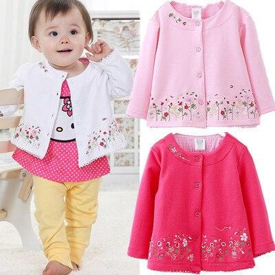 2018 Frühling Kinder Kleidung Weiblichen Baby Mädchen Mit Langen ärmeln Strickjacke Jacke Mantel Bestickt Rosa Blumen Kinder Kleidung Hohe QualitäT Und Preiswert