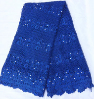 Blue color Guipure French Lace Fabric High Quality African Lace Fabric 8 color Beaded French Lace Wholesale And Retail QE216