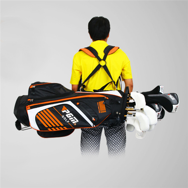 PGM Portable Golf Stand Bag Golf Bags with Stand 14 Sockets Multi Outdoor Sport Pockets Standard Bag with Shoulder Strap 90*28CM mizuno aerolite x golf stand bag white royal page 1