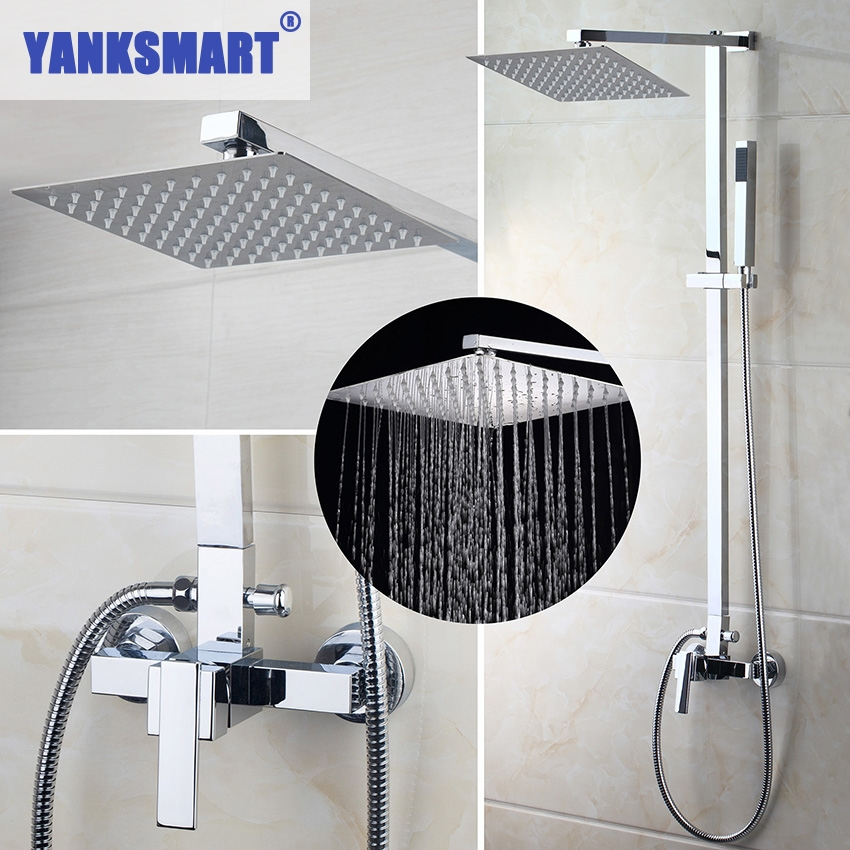 YANKSMART US Bathroom Shower-Faucet Wall Mounted Bath Shower Mixer Tap Rainfall Shower With Hand Shower Faucet Set 52004-8PY sognare new wall mounted bathroom bath shower faucet with handheld shower head chrome finish shower faucet set mixer tap d5205