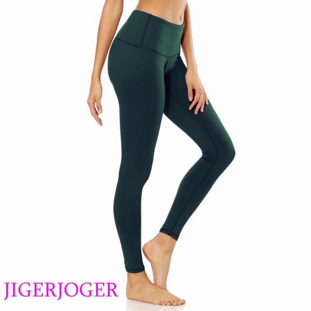 93907a093412e JIGERJOGER Women's yoga Leggings Brand quality high Rise a pocket Olive  green pilate compression tight pants