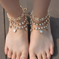 Luxury New Fashion Bridal Barefoot Water Drop Rhinestone Sandals Wedding Shoes Foot Jewelry Crystal Anklet Charm Bracelet