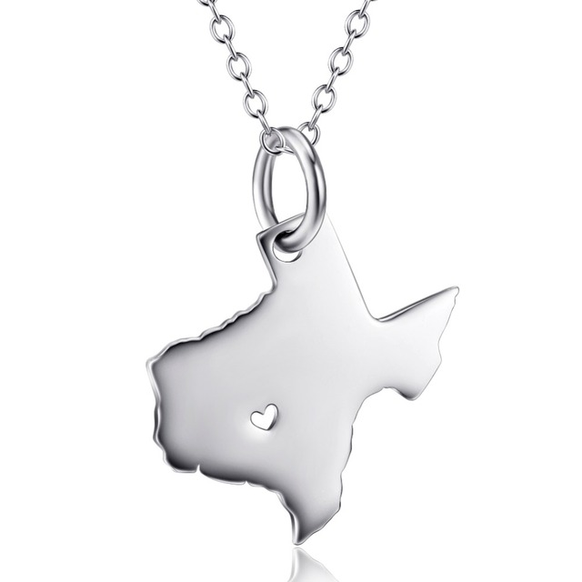 925 sterling silver diy usa state pendants necklaces personalized 925 sterling silver diy usa state pendants necklaces personalized texas state custom map necklace with chain aloadofball Gallery