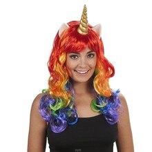 Дети косплей парик пони Радуга Белый Синий цветные синтетические волосы вечерние шапки Единорог Хэллоуин косплей парик с ободок с рогом