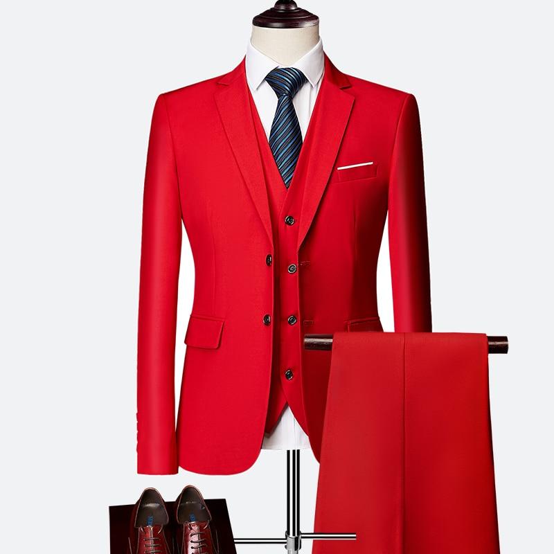 (10 colors) high quality men's suit 3 piece set, 2019 new slim business solid color suit, fashion large size groom dress suit