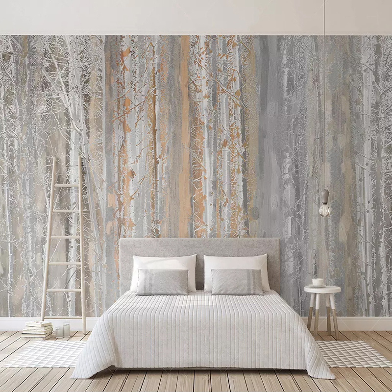 Custom Photo Wallpaper 3D Wood Texture Forest Oil Painting Style Murals Living Room Bedroom Background Wall Papers For Walls 3 D