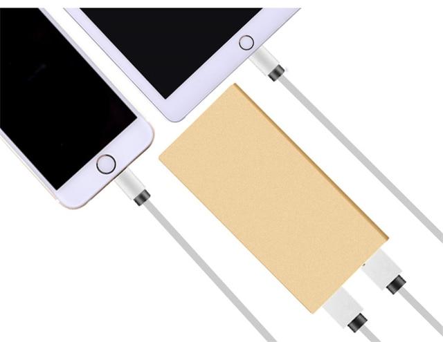Ультра-тонкий Мобильный Банк питания 12000 мАч металлический корпус свет USB Внешняя Батарея Резервного Копирования Портативный универсальный Телефон зарядное устройство