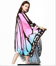 50x Women Scarf Beach Pashmina Butterfly Wing Cape Shawl Wrap Gifts Novelty Print Scarves Gradient Color Poncho Pashminas chic style gradient color irregular print anti uv scarf for women
