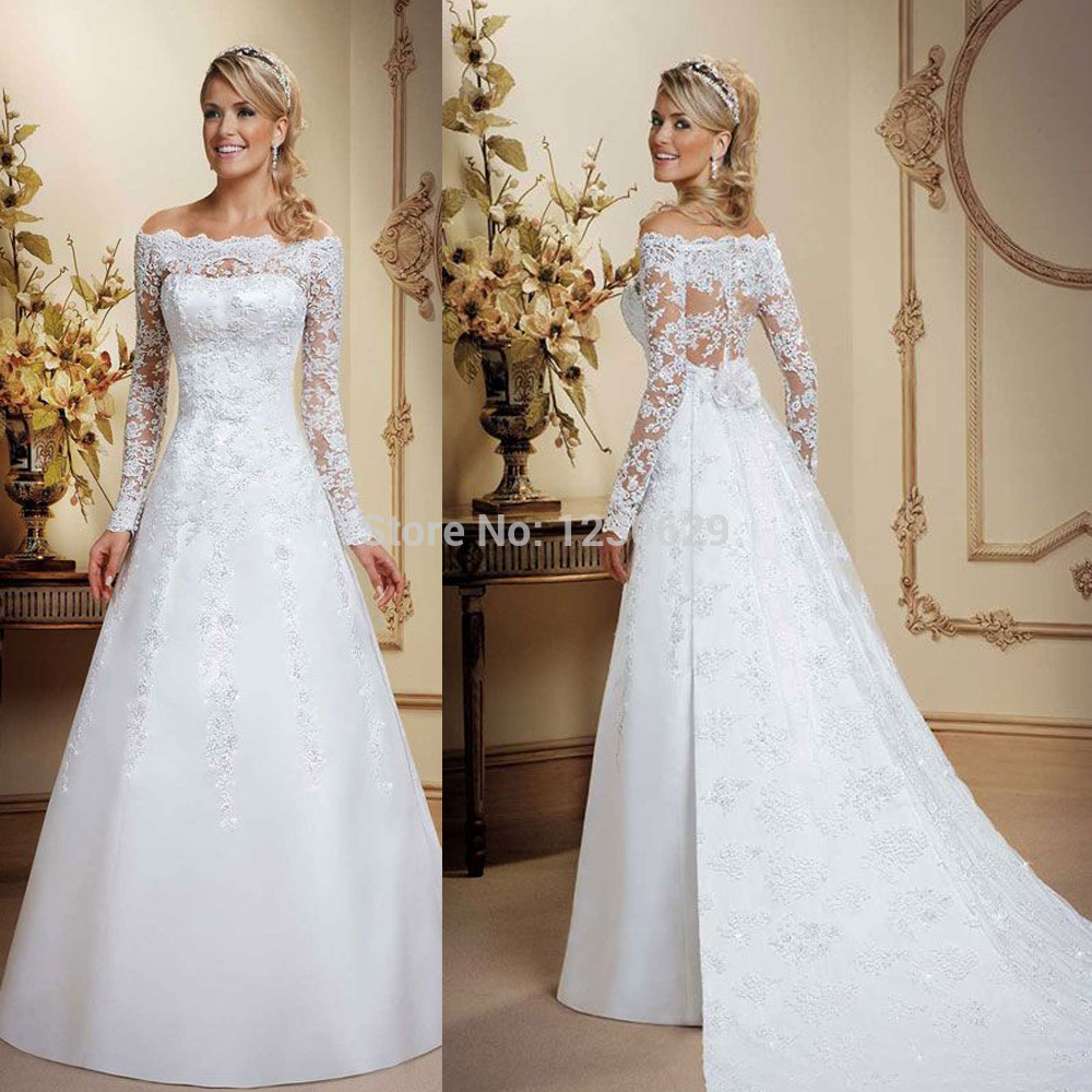Simple Long A Line Cap Sleeve Train Lace Wedding Dresses: Elegant Boat Neck Sheer Long Sleeve Illusion Backless A