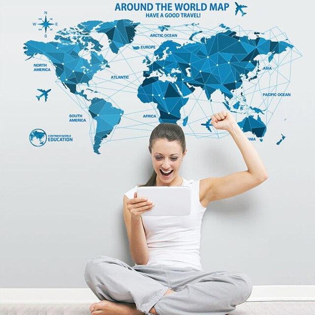 Diy Bleu Origami Carte Du Monde Avion Wall Sticker Affiche Papier