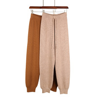 2018 Knitted trousers new autumn winter elastic waist beam leg pants with new knit harem Knitted pants women's solid casual