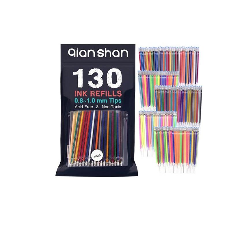 130 Colors Gel Pen Refills Glitter Metallic Pastel Fluorescence Neon Painting Sketch Pen Ink Refills for Adult Coloring Books