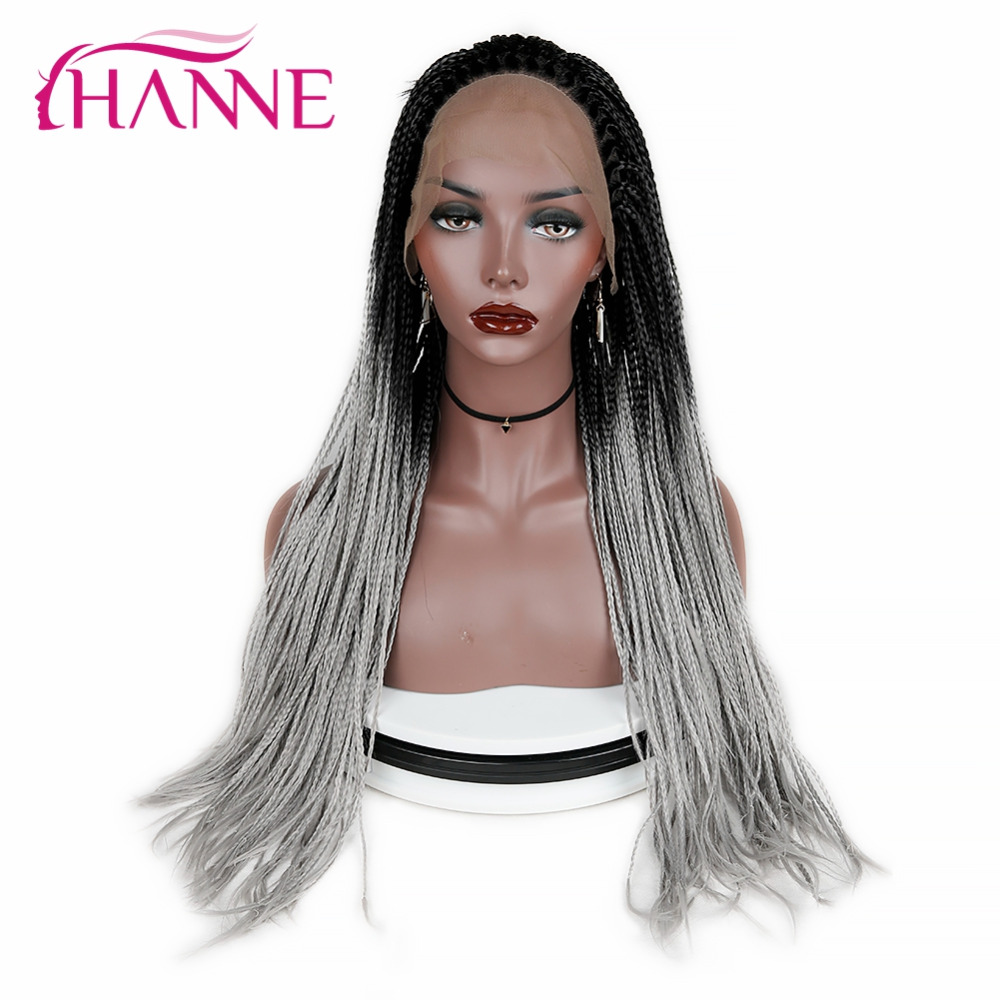HANNE Synthetic Lace Front Wig For Black Woman Ombre Grey African American Braided Heat Resistant Fiber Box Braids Wigs