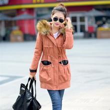 Новая Мода женские пальто, Все Матч Женская случайно куртку пальто, Большой меховой воротник с капюшоном женщин С Длинным парка пальто Бесплатная доставка G2641