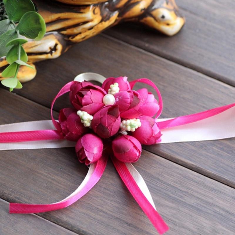 Populaire Poignet Fleur Rose Ruban de Soie Mariée Corsage Main Fleur  RU78