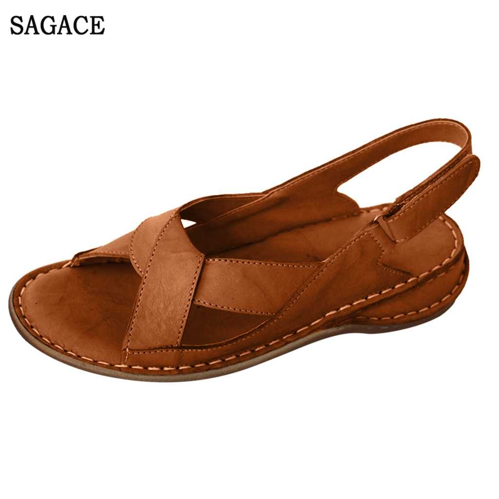 SAGACE Women's Ladies Summer Sexy High Quality Outsid Ladies Shoes Hollow Out Wedge Buckle Sandals Casual Shoes