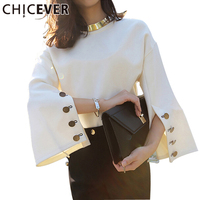 CHICEVER 2017 Spring Flare Sleeve Split O Neck Leather Pullovers Sweatshirt Lady Women Sweater New