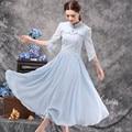 New Jacquard Dresses For Women High Waist Big Swing Ankle-length Sundresses Blue White Long Dress Spring Fashion 2016