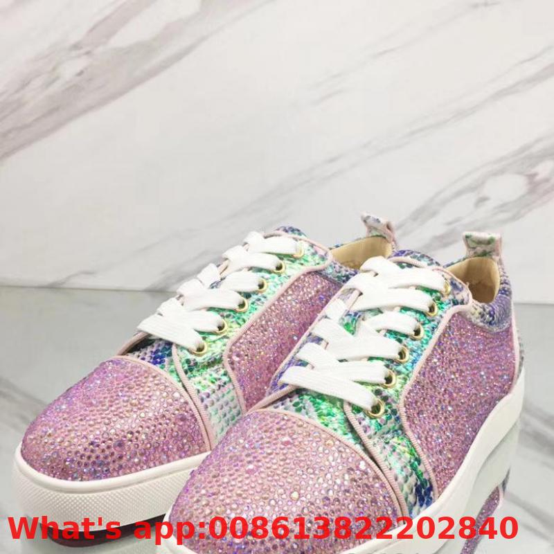 Lovers Low Cut Leisure Lace Up Pink Snake Leather Rhinestone Diamond Red Bottoms For Man Shoes Sneakers Tie Casual Flat(China)