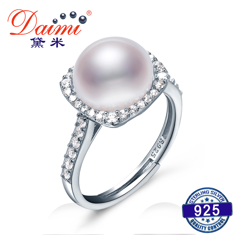 DAIMI Shiny Square Ring High Quality 10-11mm Freshwater Pearl Trendy Ring 925 Sterling Silver Ring Gift For Women trendy environmental alloy openwork width ring for women