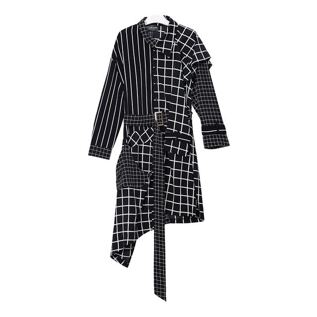 New 2018 Autumn Winter Women Blue Black Asymmetrical Plaid Dress With Sashes Long Sleeve Lady Stylish Cute Wear Dress Style 3209