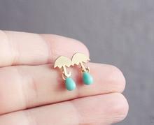 Cloud Water Drop Umbrella Dangle Drop Earrings