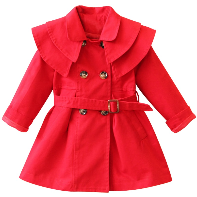 New High quality 100% cotton Girls coat long sleeve Solid double-breasted dust coat jacket outerwear autumn Spring wear 2-7yrs stylish lapel long sleeve double breasted plus size coat for women