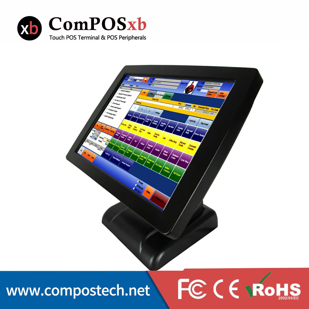 Retail POS 15 Inch TFT LCD Touch Screen Monitor EPOS System Touch Pos All In One Touch Pos Terminal For Restaurant/Beauty Shop 15 inch tft lcd touch screen monitor core i3 touch screen pos all in one restaurant epos system with msr customer display