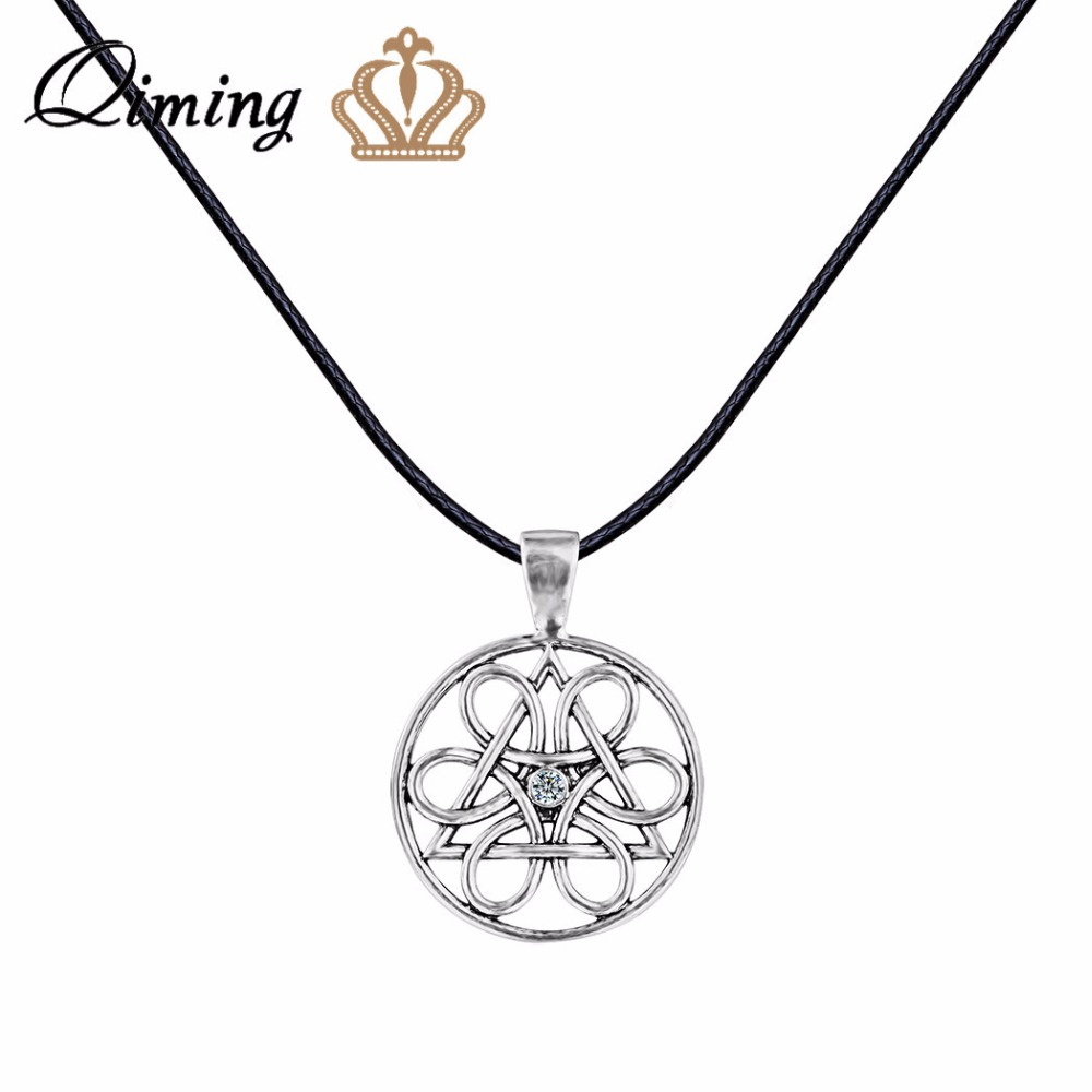 qiming wheel of life charm necklace for women cz crystal men jewelry vintage round slavic