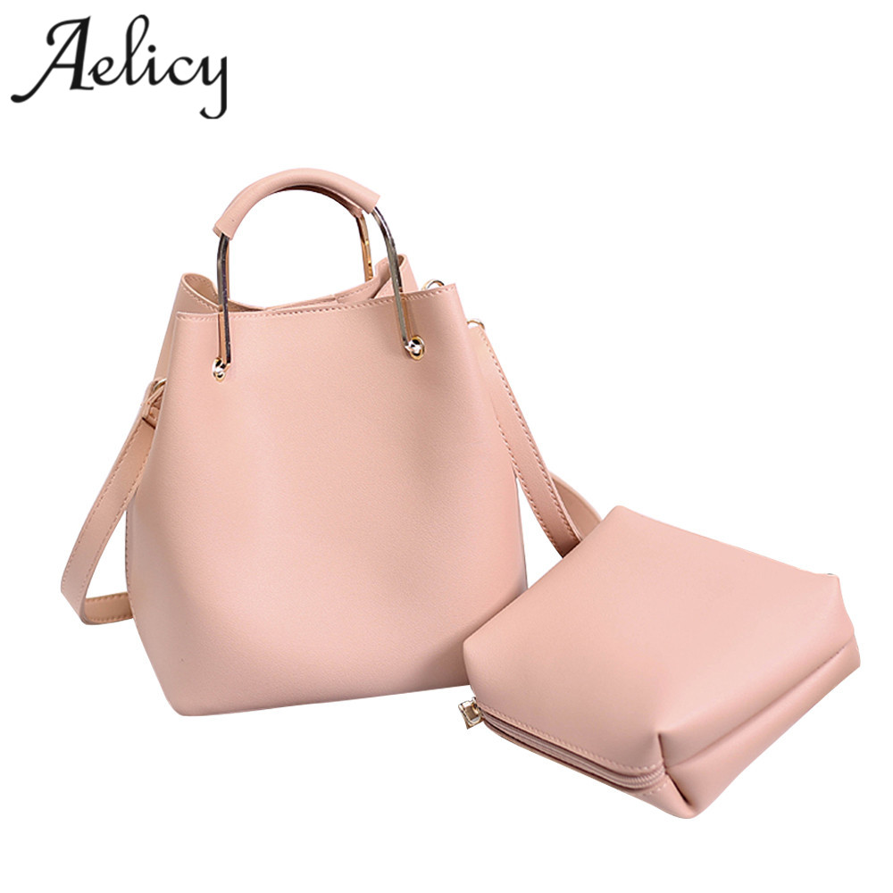 Aelicy High Quality Leather Women Bag Bucket Shoulder Bags Solid Big Handbag Large Capac ...