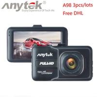Бесплатная DHL 3 шт./лот Anytek A98 Видеорегистраторы для автомобилей Регистраторы Новатэк регистраторы Full HD 1080 P G Сенсор Ночное видение автомобил