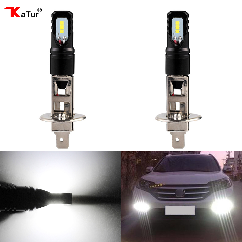 Katur 80W H1 Led Bulbs For Cars Daytime Driving Fog Lights CSP Chip Super Bright 6000K White Lighting High Power H3 Led Lamp 1 set h7 60w 8000lm tri color led headlight csp chips golden yellow white 3000k 4300k 6000k driving fog rainy snowy lamp bulbs