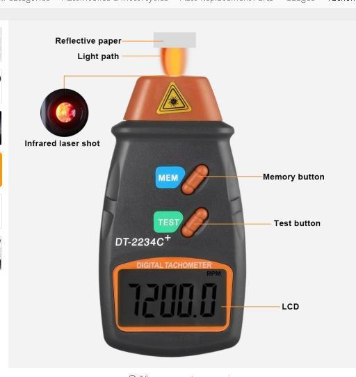 مقياس سرعة الدوران الرقمي لصور الليزر غير التلامس RPM Tach مقياس سرعة الدوران الرقمي للمحرك مقياس سرعة الدوران بدون اعلانات