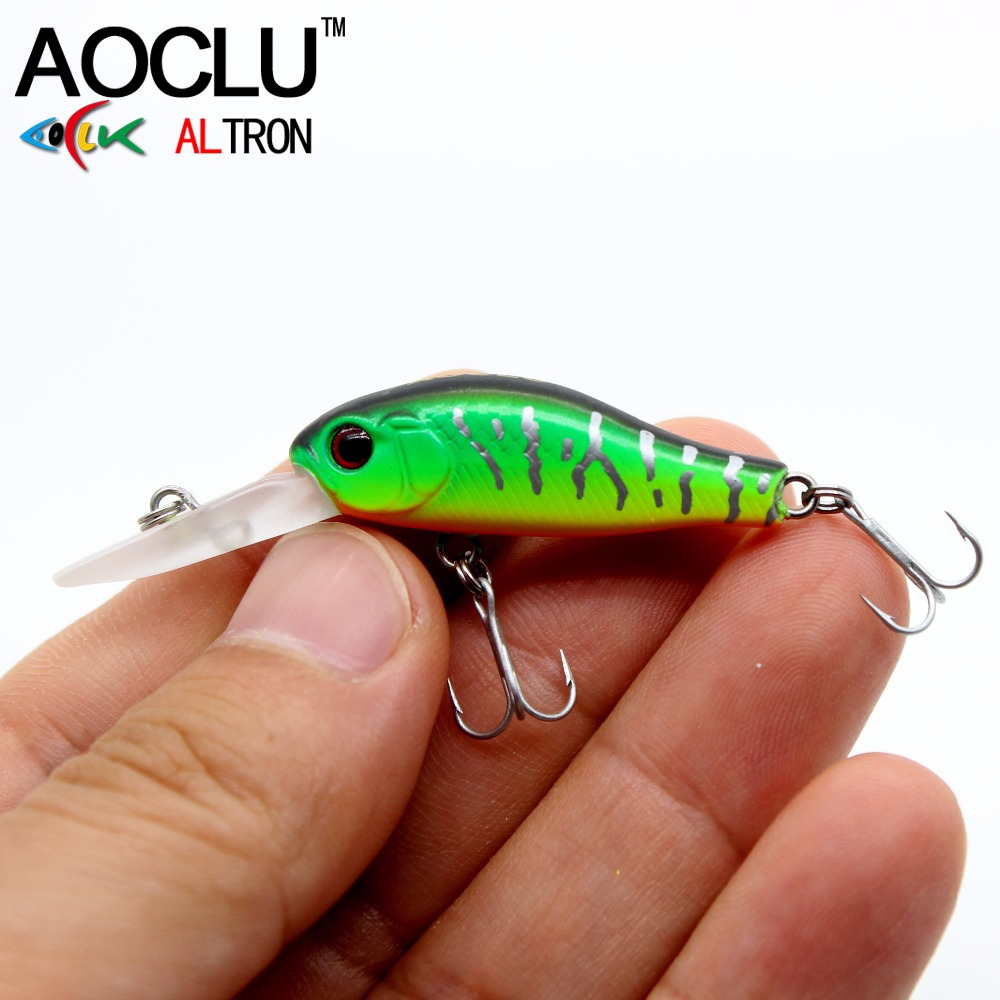 AOCLU wobblers Jerkbait 6 Colors 35mm 2.4g Hard Bait Minnow Crank Fishing lures Crankbait Bass Fresh Salt water 14# VMC hooks