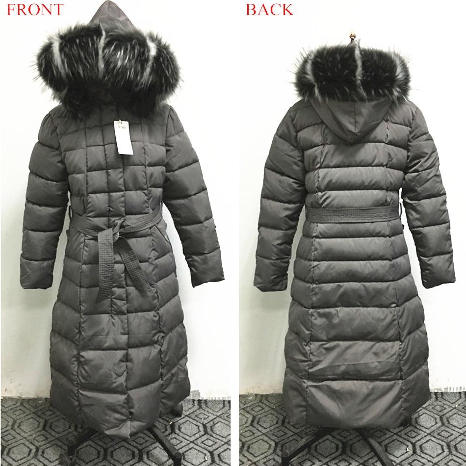 Image 5 - Fashion Winter Jacket Women Big Fur Belt Hooded Thick Down Parkas X Long Female Jacket Coat Slim Warm Winter Outwear 2019 New-in Parkas from Women's Clothing